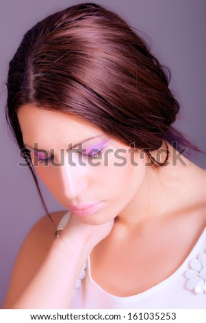 beautiful girl with clean fresh skin - stock photo