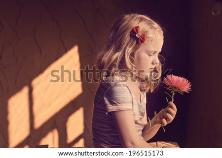 beautiful girl with flower on background wall - stock photo