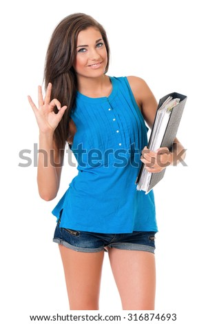 Beautiful girl with folders, isolated on white background - stock photo