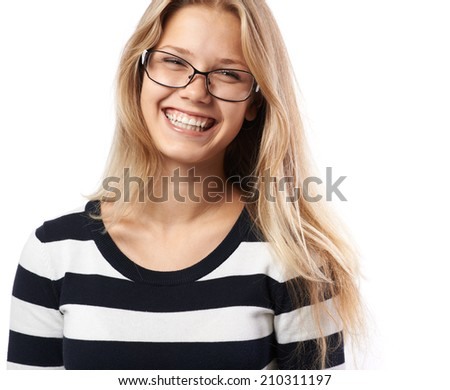 beautiful girl with glasses smiling charming - stock photo