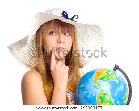 Beautiful  girl with globe thinking, isolated over white - stock photo