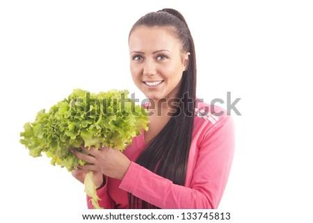 beautiful girl with green salad - stock photo