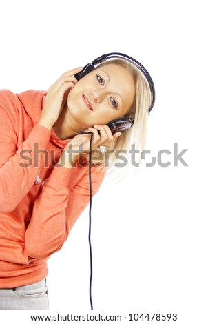 beautiful girl with headphones isolated - stock photo