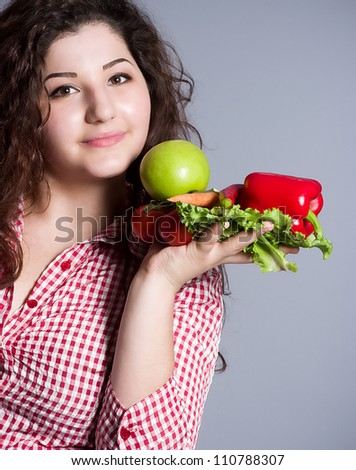 Beautiful girl with healthy food - stock photo