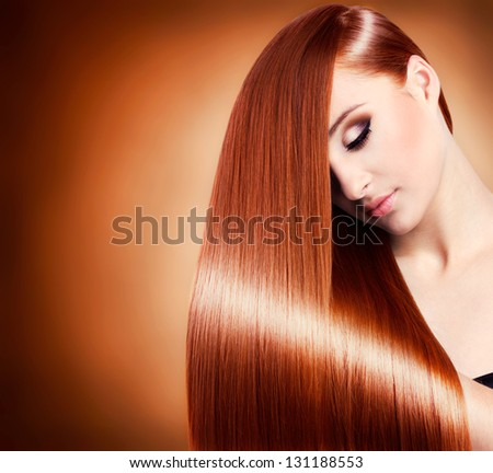 beautiful girl with healthy long hair,close-up - stock photo