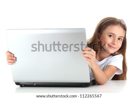 beautiful girl with laptop isolated on white - stock photo