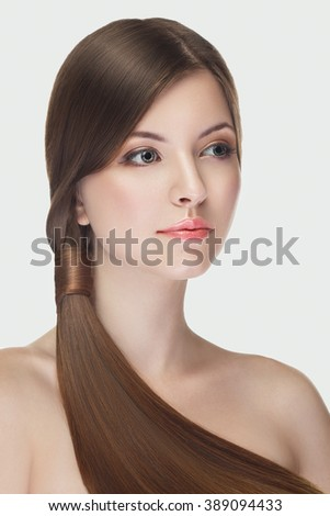 Beautiful girl with natural make up on white background in studio photo. Beauty and naturality - stock photo