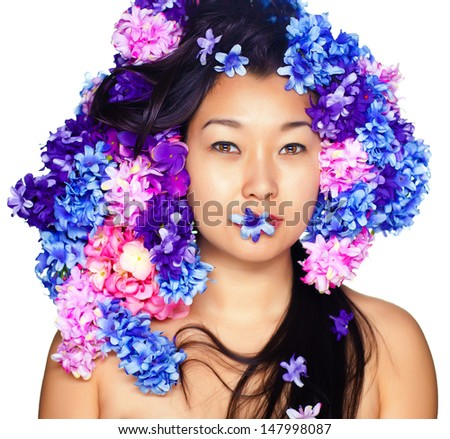 Beautiful Girl With Orchid Flowers and Butterfly. Beauty Face.separated background - stock photo