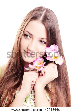 beautiful girl with orchid isolated on white - stock photo