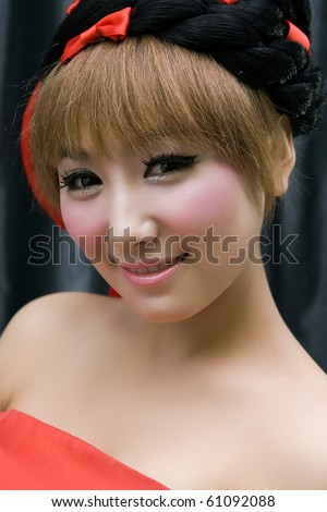 Beautiful girl with perfect sweet makeup,smiling - stock photo