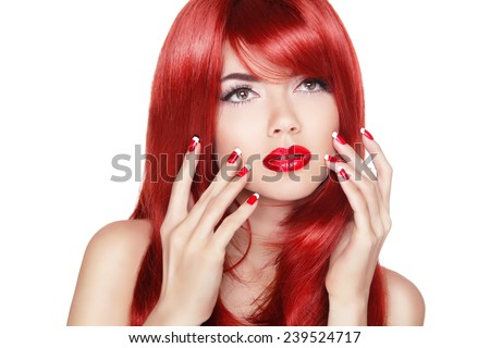 Beautiful girl with red hair. Long straight hair Shine with health. Fashion makeup. Manicured nails. - stock photo