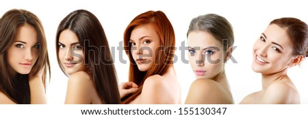 Beautiful girls, faces closeup over white - stock photo
