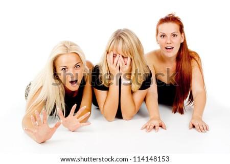 beautiful girls frightened look, shout isolated on white background - stock photo