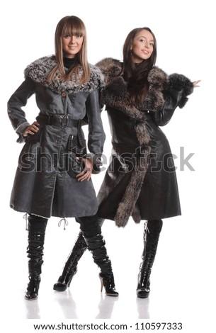 beautiful girls in furs - stock photo