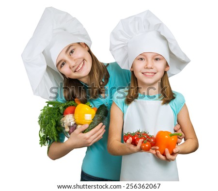 beautiful girls with vegetables on a white background  - stock photo