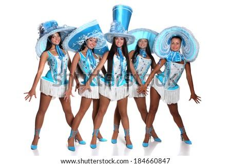 beautiful girsl dancing in blue hat - stock photo
