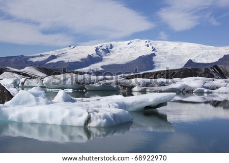 Beautiful glacier and iceberg picture of Glacier lagoon in Iceland - stock photo