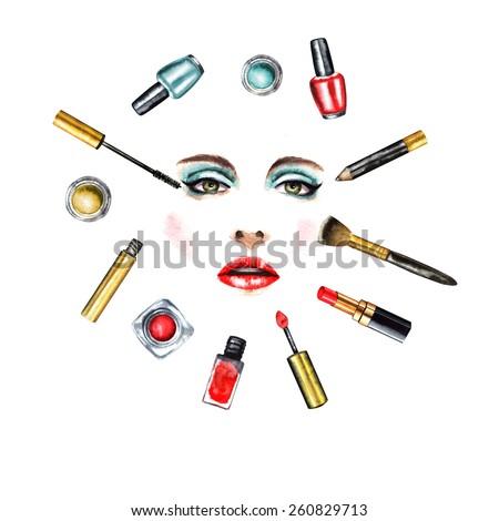 Beautiful glamorous girl doing makeup. Cosmetics makeup watercolor illustration. - stock photo