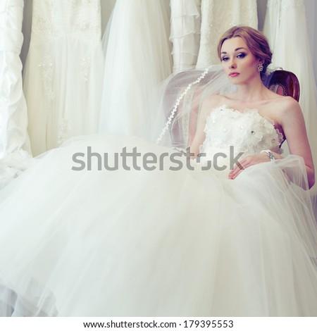 Beautiful glamour bride on vintage background - stock photo