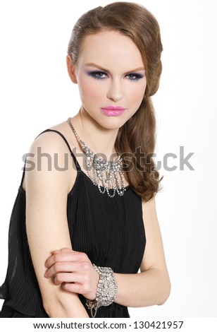 beautiful glamour girl with bright make-up-and bracelet , Jewelry - stock photo