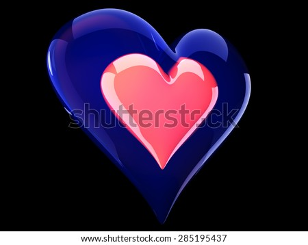 beautiful glossy pink heart inside glass heart - stock photo
