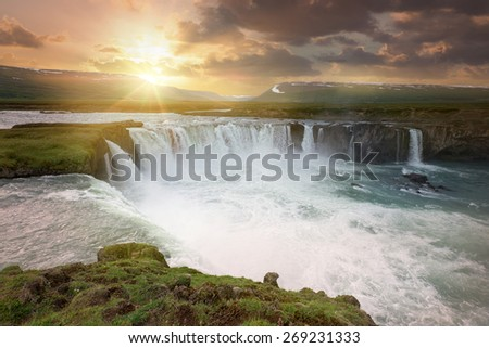 Beautiful Godafoss waterfalls in the end of the day, Iceland - stock photo