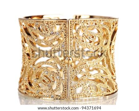 beautiful gold bracelet isolated on white - stock photo
