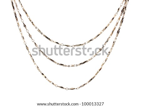 beautiful gold chain isolated on white - stock photo