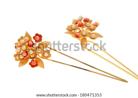 beautiful gold hairpin isolated on white background - stock photo