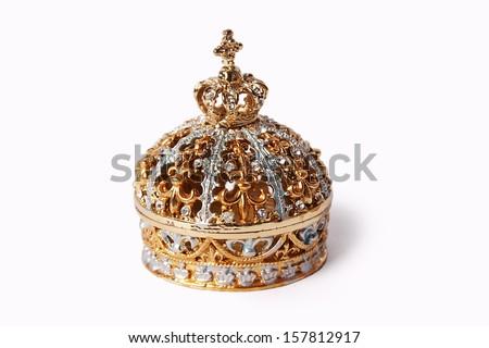 beautiful gold jewelry box  - stock photo