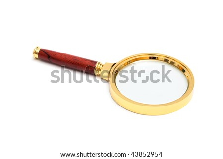 beautiful gold magnifying glass on a white background - stock photo