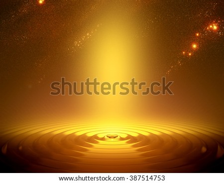Beautiful golden background with sky and waves of water - stock photo