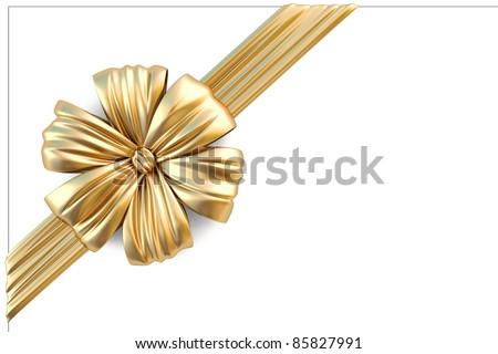 beautiful golden bow with a ribbon. isolated on white - stock photo