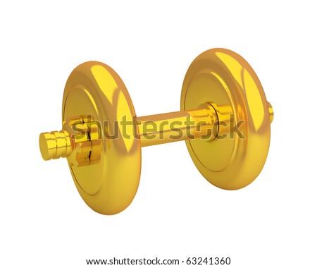 beautiful golden dumbbell isolated - stock photo