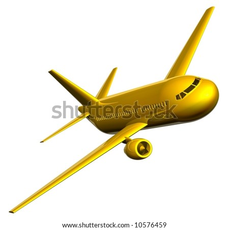 Beautiful golden jet airliner isolated on white - stock photo