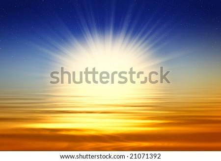 Beautiful golden sunrise - stock photo