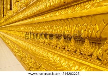 Beautiful golden temple is elegant pronounced in Thailand. - stock photo
