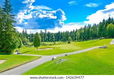 Beautiful golf course in a sunny day with dark blue sky and clouds. Canada, Vancouver. Vertical. - stock photo