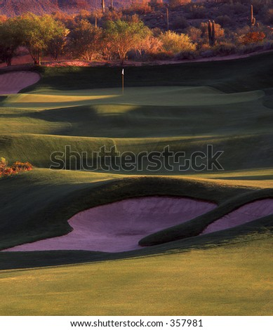Beautiful golf hole. - stock photo