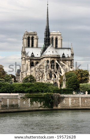 Beautiful gothic Cathedral of Notre Dame in Paris, France - stock photo