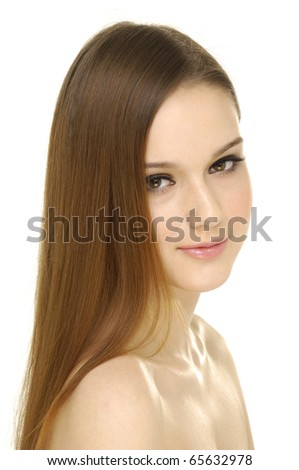 beautiful graceful woman with long hair - stock photo