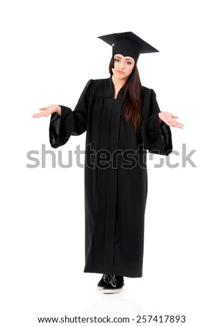Beautiful graduate girl student in mantle, isolated on white background - stock photo