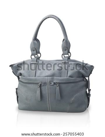 beautiful gray leather handbag isolated on white background - stock photo