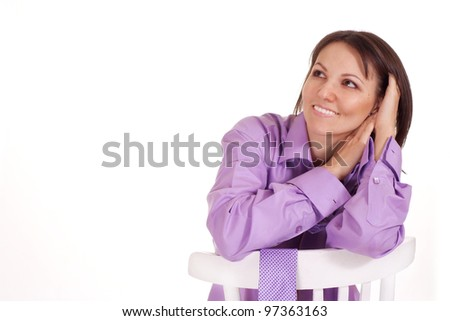Beautiful great female in purple compelling shirt on a isolate background - stock photo