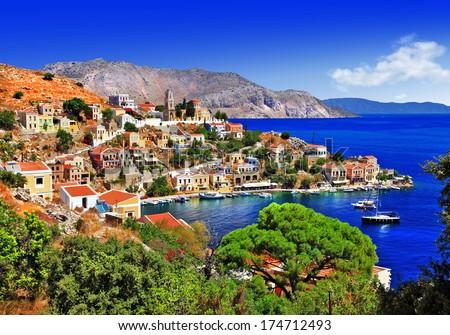 beautiful Greek islands - Symi, Dodecanese - stock photo