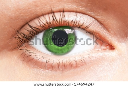 Beautiful green eyes of young girl, close-up - stock photo