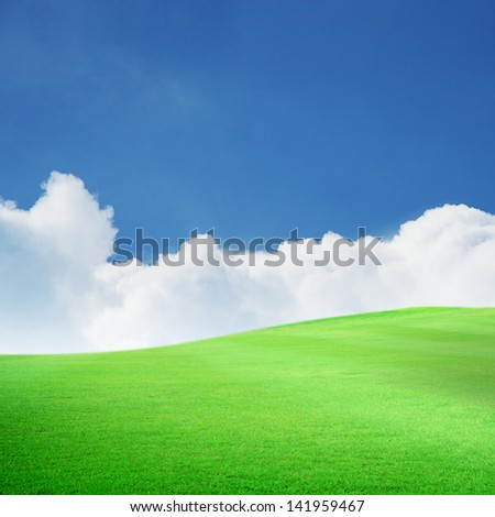 Beautiful green field with blue sky and white cloud - stock photo