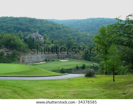 Beautiful green golf course - stock photo