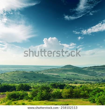 beautiful green mountain landscape in Carpathians - stock photo