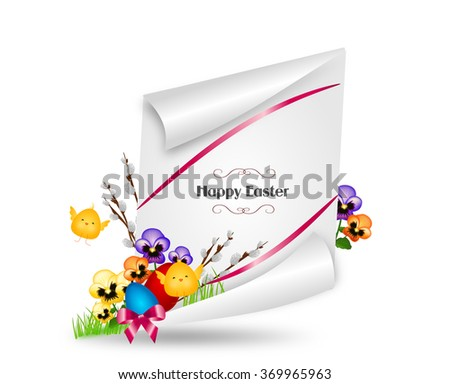 Beautiful greeting card to easter holiday with spring flower and eggs - stock photo